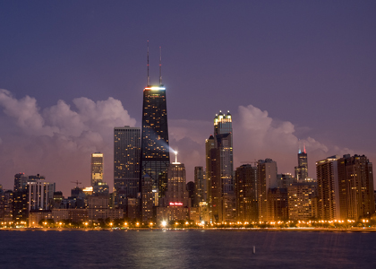 Chicago skyline at night 420