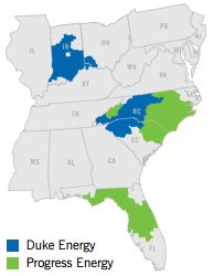 Duke Energy and Progress Energy's service areas (Duke Energy) 194x250