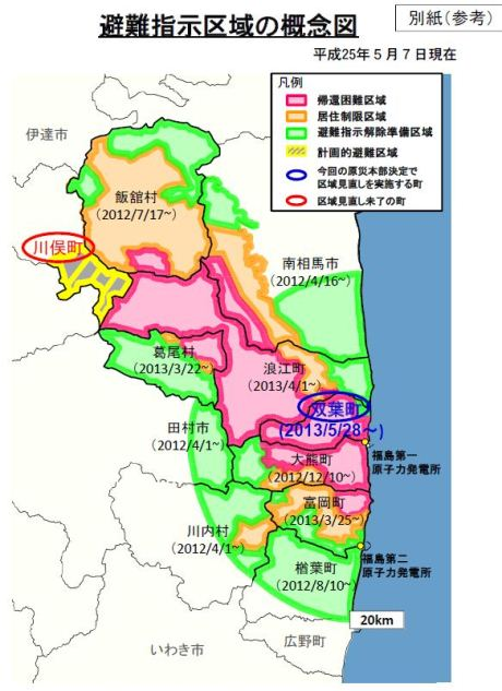 Futaba Access Restrictions Relaxed - Japan exclusion zone map