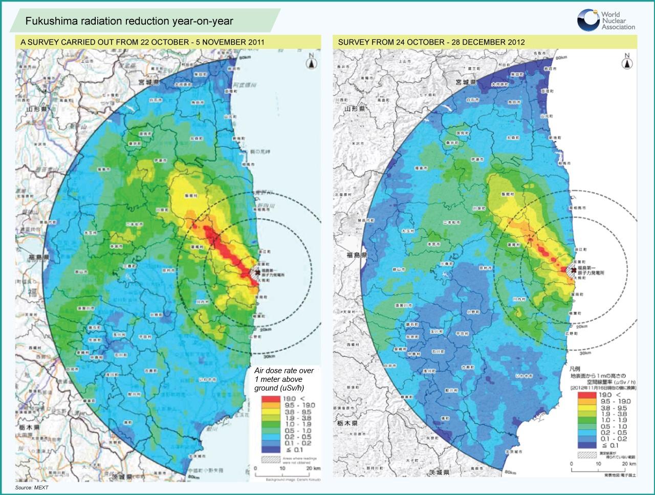 Radiation Declines At Fukushima - Japan map fukushima