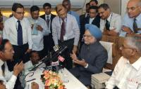 Manmohan Singh with press