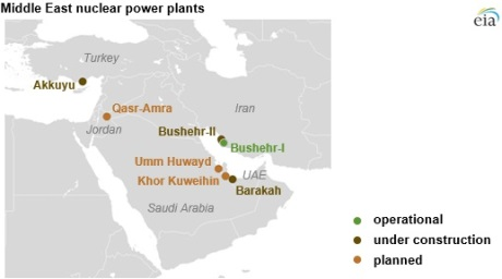 Middle East Nuclear Power To Quadruple In Ten Years World Nuclear News - Map-of-nuclear-reactors-in-us