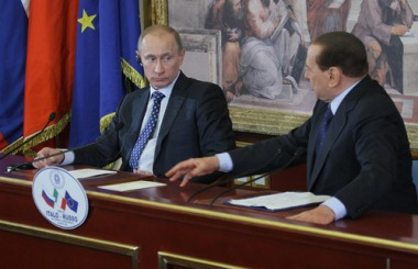 Putin and Berlusconi in Milan, April 2010